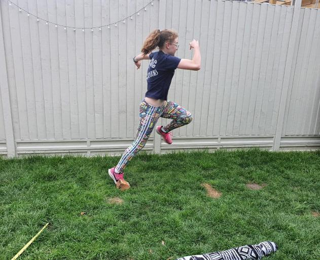 Millie enjoying her long jump!
