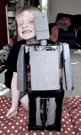 George and his super Iron Man model!