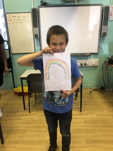 Tymek's lovely rainbow - working hard in school