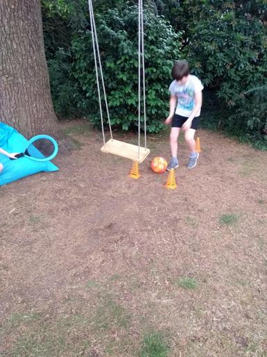 Ethan completing his obstacle course