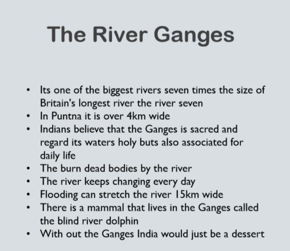 Maisy's notes on the River Ganges