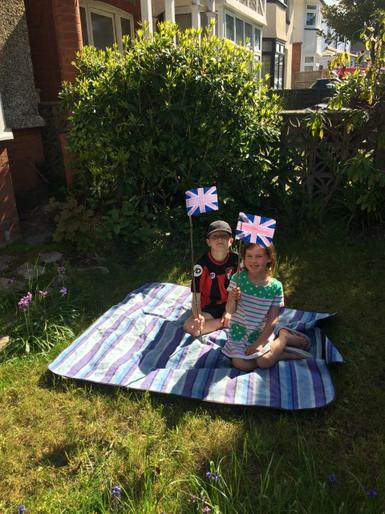 Bea with her Union Jack and her brother, Oliver