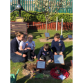 Pupils from Pollington planting a tree.