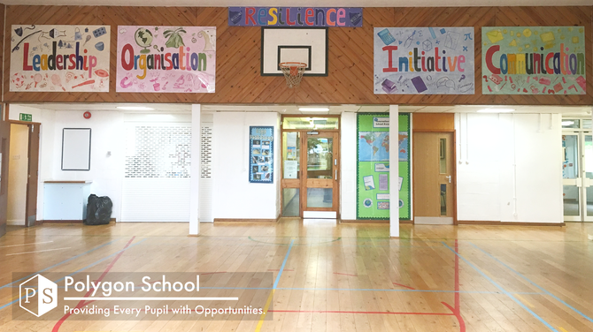 Our hall posters displaying the words leadership, organisation, resilience, initiative, communication.