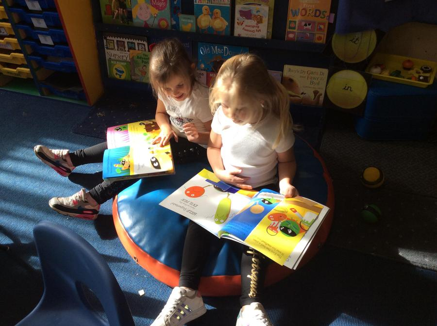 Enjoying the story with a friend