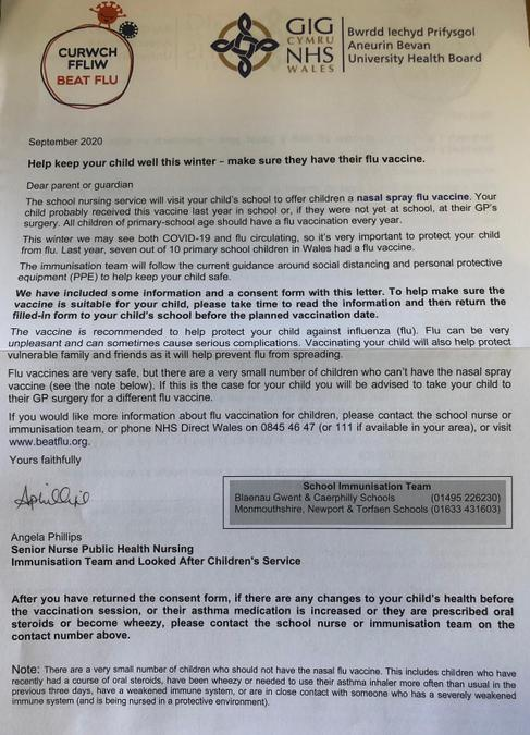 Flu Inoculation Letter