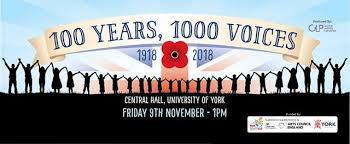 EXCITING MUSICAL OPPORTUNITIES!  Our Poppy Singers have been invited to sing at a concert to mark the centenary of WW1 at York University Central Hall on Friday 9th November, called '100 Years, 1000 Voices'. We are very excited to take part in this!