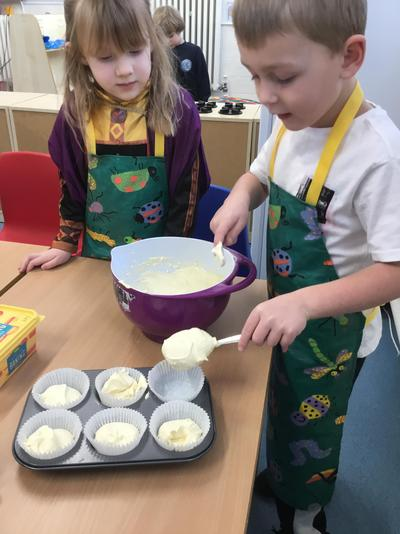 Reception making muffins