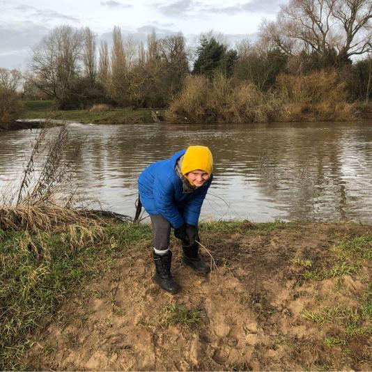 Here's Sam completing his river study walk...