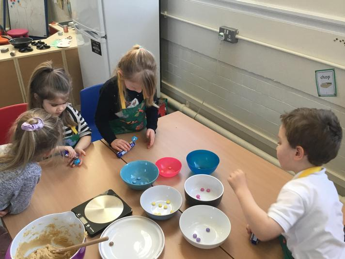 Reception making reindeer cookies