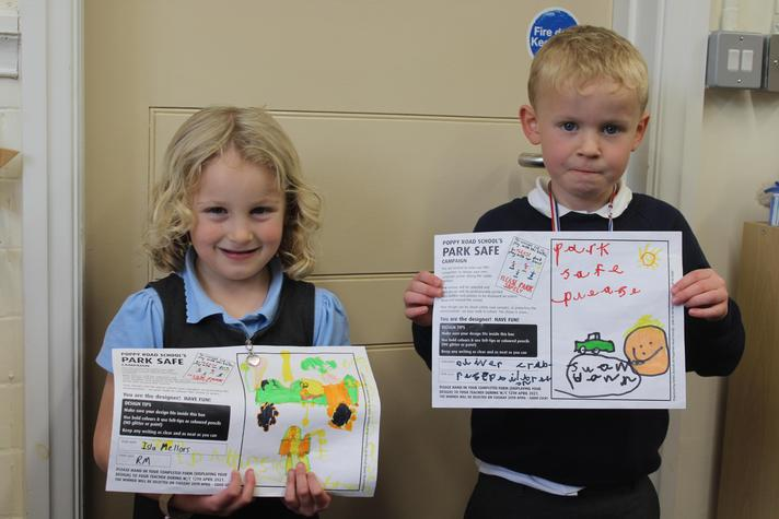 Oliver and Isla with their fantastic posters