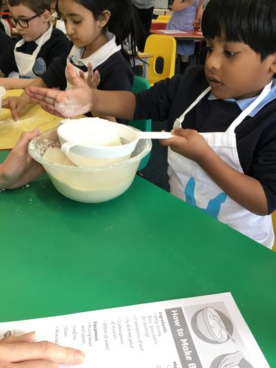 Making bread for the food bank