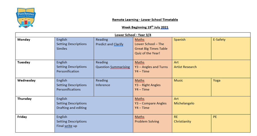 Weekly Timetable