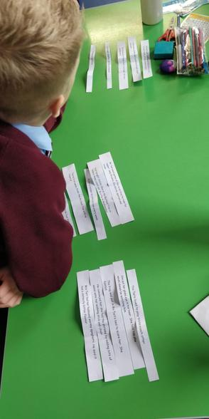 Paragraphing sentence strips