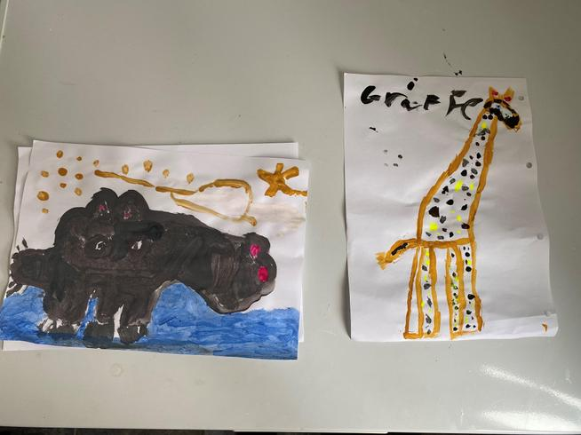 Giraffe by Lily and Hippo by Jake