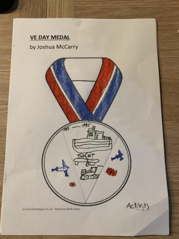 Joshua's wonderful VE Day medal design