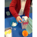 Carefully weighing and measuring in cooking