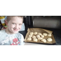 Ollie bakes 14 cookies and dad eats 5 of them! WOW