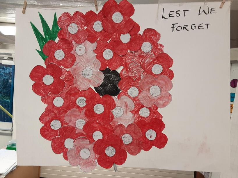 The children's collage of a poppy reflecting on who they are remembering today.