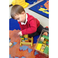 Exploring building with a variety of blocks