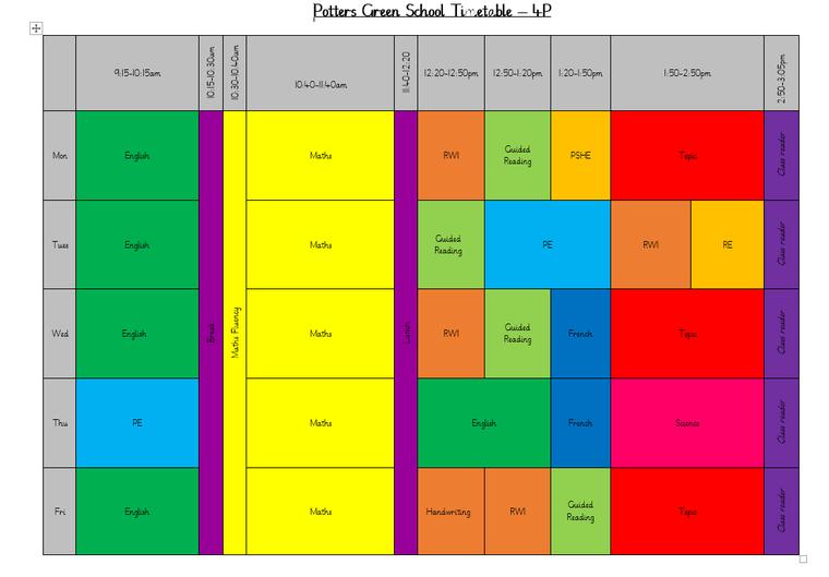 4G Timetable