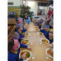 Badgers enjoying their christmas lunch