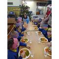 Badgers enjoying their christmas lunch