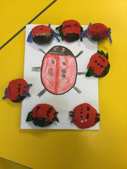 We have made ladybirds out of recycled materials.