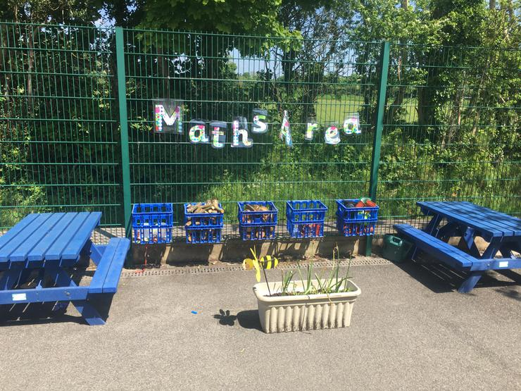 Our outdoor maths area.