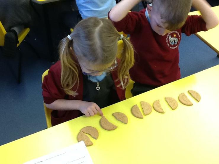 Counting and adding half biscuits.