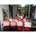 Awards from Mrs Gallagher for hard work all year