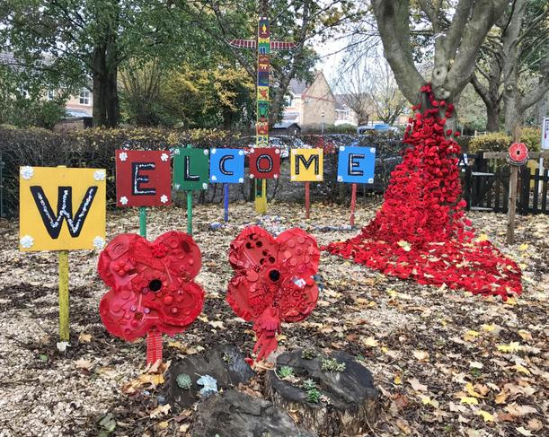 Whole school Welcome Garden Remembrance Display