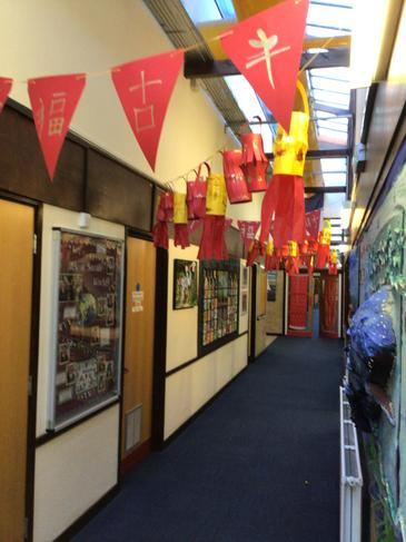 Bunting and Lanterns made by children adorn the corridors