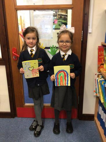 Lucy and Jessica with their cards