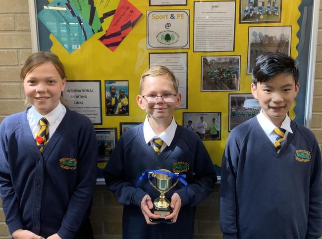 Our winning house captains Lily, Alfie and Alex (Cook)