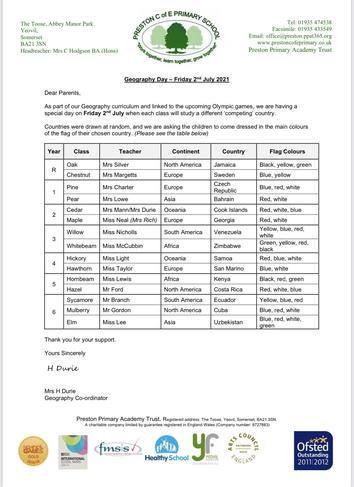 Letter to parents to inform them of countries allocated to each class for Geography/ Day
