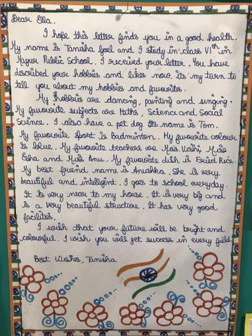 Letter received from India