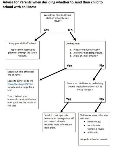 Flowchart of actions around different symptoms