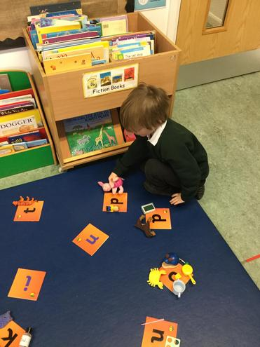 We have been matching objects to their initial sounds.