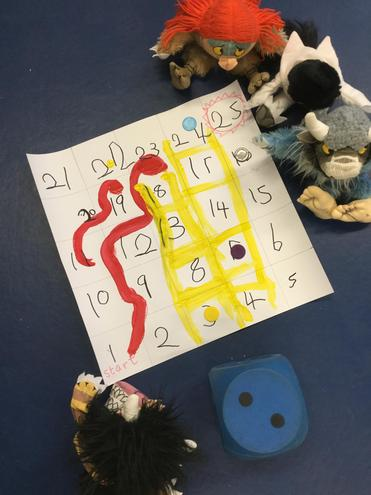 Here are the 'Wild things' playing snakes and ladders.