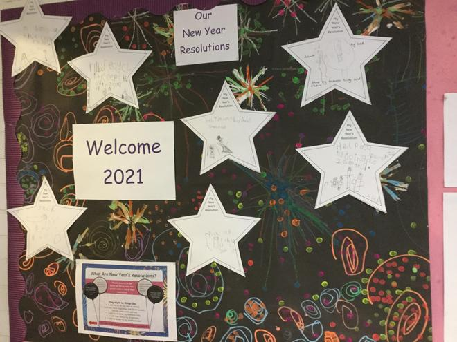 The children at home and at school have been making new year's resolutions.
