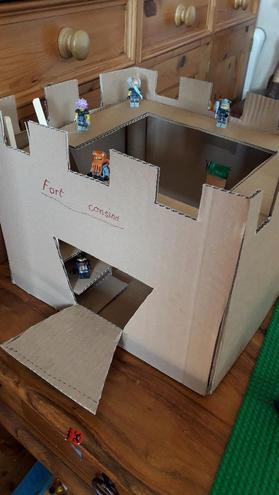 Oliver's Amazing cardboard fort.