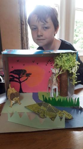 Awesome 3D diarama of a savannah