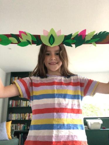 A felt rainforest headband