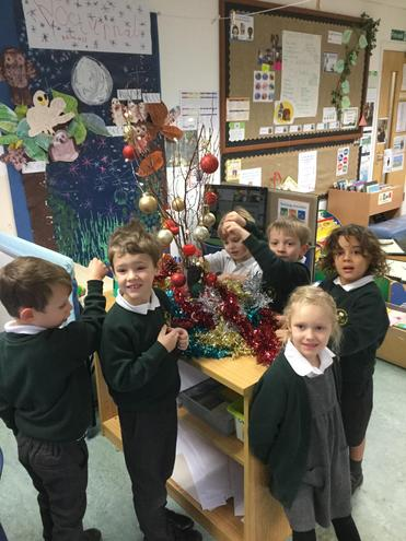 We have decorated our Christmas branches.