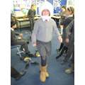 Mobility challenges in 'moon boots'.