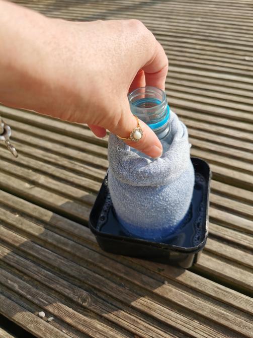 Dip your bottle sock in the liquid