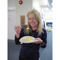Only Miss Cook was brave enough to try our cooking