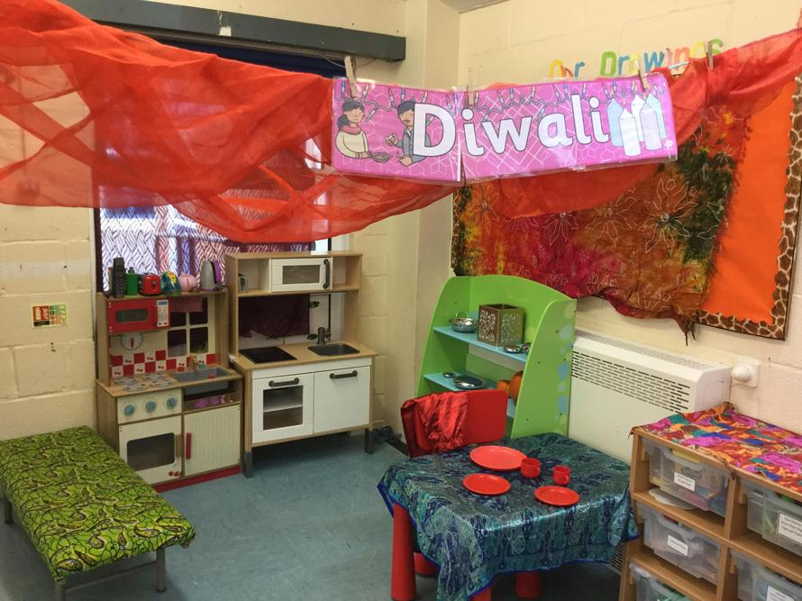Celebrating Diwali in preschool, we made Diva lamps and tried some Indian foods.