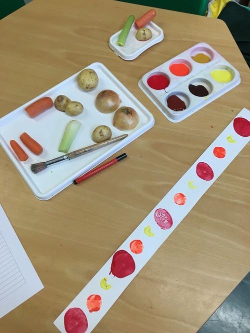 Make a fruit or vegetable pattern.